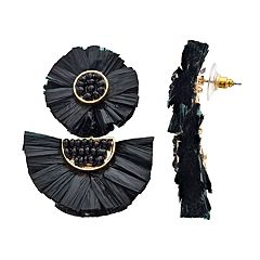 Gold Tone Black Bead Detail Fan Drop Earrings