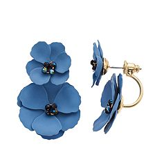 Gold Tone Bead Detail Blue Flower Motif Front Back Drop Earrings