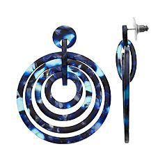 Blue Concentric Hoop Drop Earrings