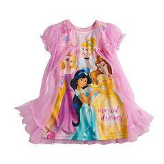 Disney Princess Toddler Girl Jasmine, Belle, Snow White & Rapunzel Dorm Nightgown & Robe Set