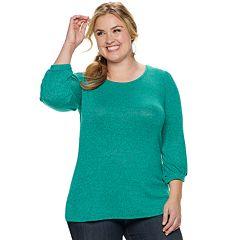 Plus Size EVRI Balloon-Sleeve Knit Top