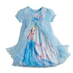 Disney's Frozen Elsa Toddler Girl Dorm Nightgown & Robe Set