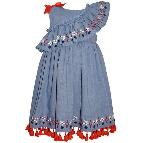 Baby Girl Blueberi Boulevard Embroidered Chambray Dress