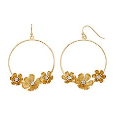 LC Lauren Conrad Flower Nickel Free Hoop Drop Earrings