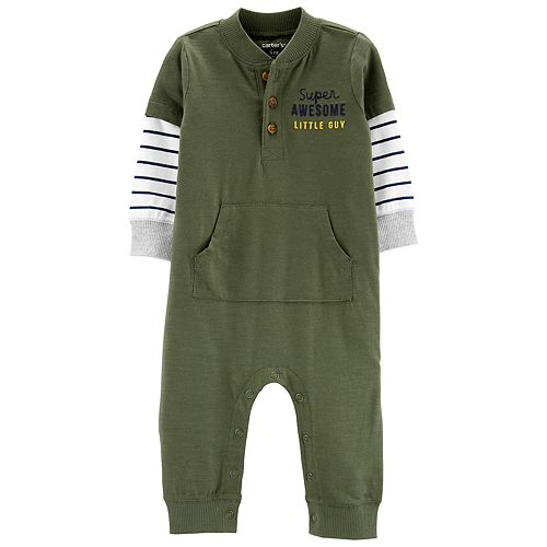 Baby Boy Carter's Striped Sleeves Henley Jumpsuit
