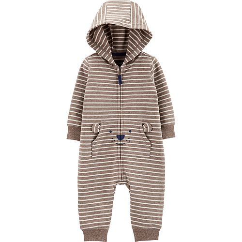 Baby Boy Carter's Striped Hooded French Terry Jumpsuit