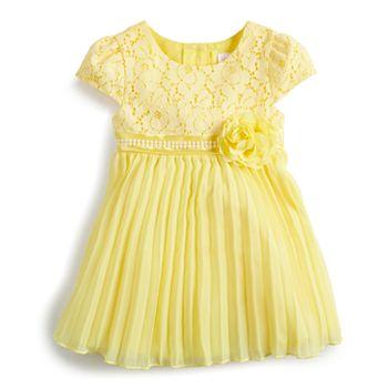 Baby Girl Youngland Lace Pleated Chiffon Dress