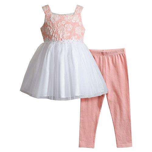 Toddler Girl Youngland Textured Tulle Dress & Leggings Set