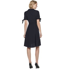 Women's Sharagano Faux-Wrap Shirt Dress