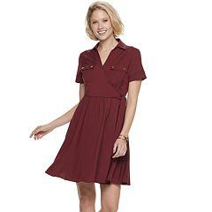 Women's Sharagano Cargo Faux-Wrap Shirt Dress
