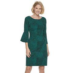 07c462866b9 Women s Sharagano Textured Bell-Sleeve Sheath Dress. Black Dark Green Multi