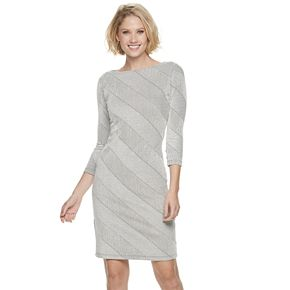 Women's Sharagano Asymmetrical Striped Sheath Dress