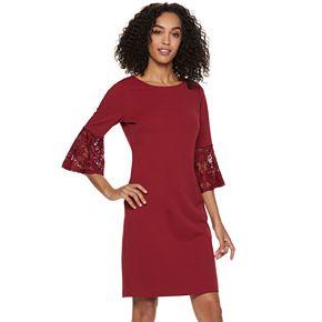 Women's Sharagano Lace Bell-Sleeve Sheath Dress