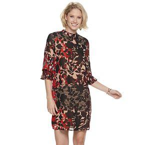 Women's Sharagano Floral Bell-Sleeve Chiffon Dress