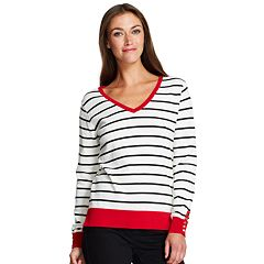 Women's IZOD Button-Accent V-Neck Sweater