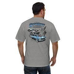 Men's Newport Blue Street Iron and Muscle Car Graphic Tee