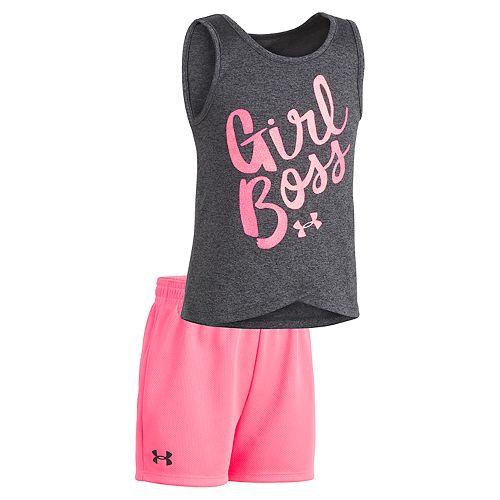 "Toddler Girl Under Armour ""Girl Boss"" Tank Top & Shorts Set"