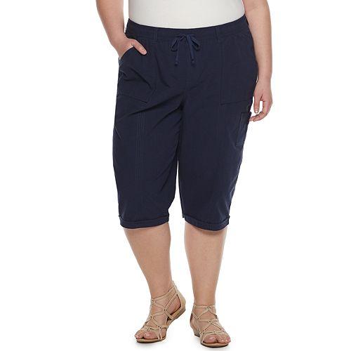 Plus Size Gloria Vanderbilt Janae Sheeting Pull-On Capris