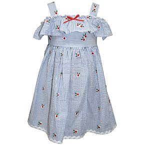 Toddler Girl Blueberi Boulevard Embroidered Striped Sundress