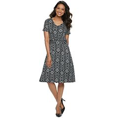 6bfe16b16325 Women's Croft & Barrow® V-Neck Swing Dress. Black Medallion Pink Floral Navy  Paisley Blue Medallion