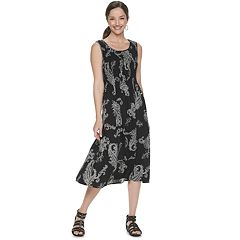 26a4b6058abe Women's Croft & Barrow® Print Challis Midi Dress. Olive Paisley Black White  Medallion Blue ...