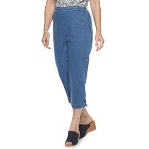 Women's Croft & Barrow® Embellished Hem Pull-On Crop Jeans