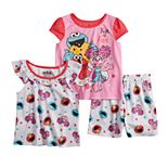 Toddler Girl Sesame Street Elmo, Abby Cadabby & Cookie Monster Tops & Shorts Pajama Set