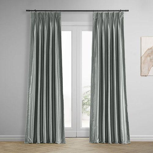 EFF 2-pack Blackout Vintage Textured Faux Dupioni Silk Pleated Window Curtains