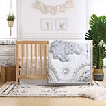 The Peanutshell 3 Piece Boho Elephants Crib Bedding Set
