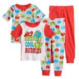 Toddler Boy Sesame Street Elmo, Cookie Monster & Oscar Tops & Bottoms Pajama Set