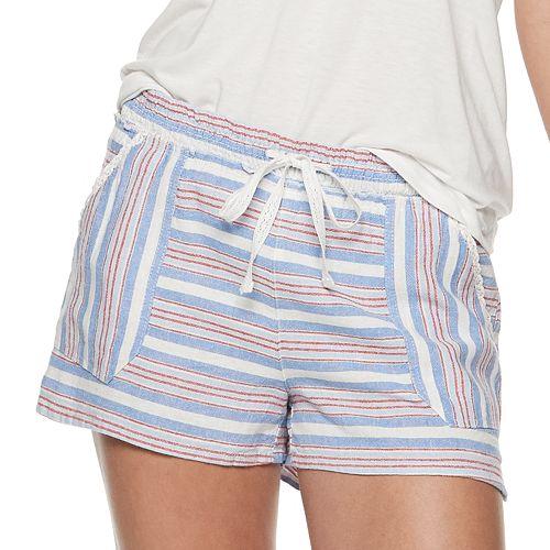 Juniors' Rewind Smocked Waistband Lace Trim Shorts
