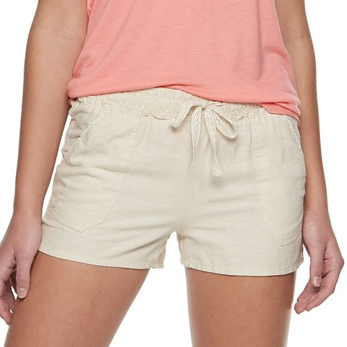 NEW Juniors Rewind Lace Hem Low Rise Shorts with Stretch White Coral 5 15