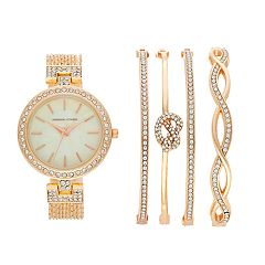 Women's Adrienne Vittadini Simulated Crystal Watch & Bracelet Set