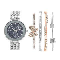 Women's Adrienne Vittadini Watch & Butterfly Bracelet Set