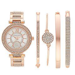 Women's Adrienne Vittadini Simulated Crystal Watch & Bracelet Set