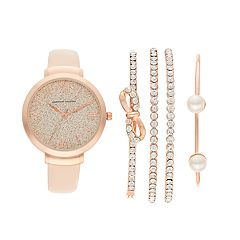 Women's Adrienne Vittadini Leather Watch & Simulated Crystal Bracelet Set