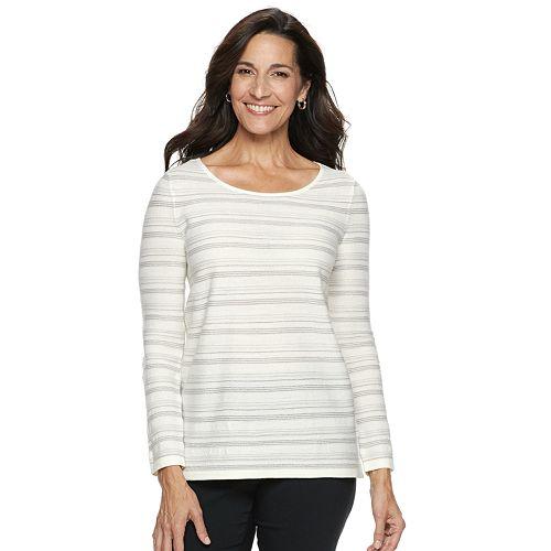 Women's Dana Buchman Lurex-Stripe Sweater