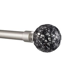 Exclusive Home Black Pearl Mosaic 1-in. Curtain Rod