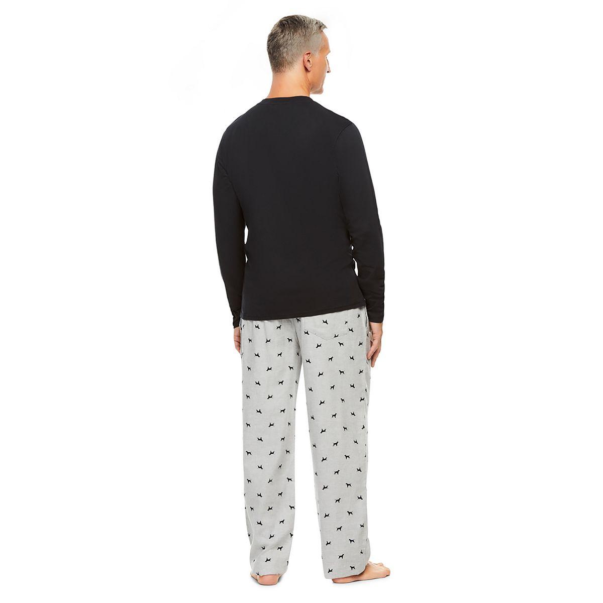 Men's Haggar® Sleep henley & Plaid Flannel Sleep Pants Set Red hArPf