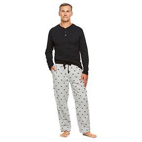 Men's Haggar Sleep henley & Plaid Flannel Sleep Pants Set