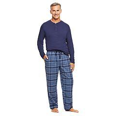Men's Haggar Henley & Plaid Flannel Lounge Pants Set