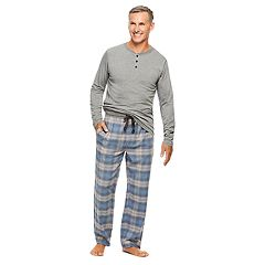 Men's Haggar Henley & Plaid Flannel Lounge Pants Set