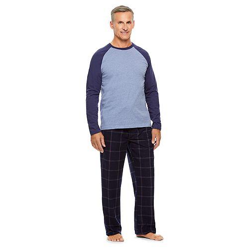 Men's Haggar Micro-Suede Raglan Sleep Top & Sleep Pants Set