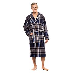 Men's Haggar Coral Plaid Shawl-Collar Fleece Robe