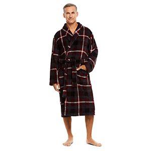 Men's Haggar Coral Plaid Shawl-Collar Fleece Robe