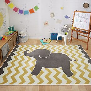 Mohawk® Home Aurora Kids Interactive Lucky Elephant Wear-Dated Rug