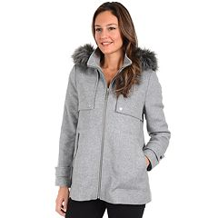 Women's Kensie Faux-Fur Hooded Tweed Jacket