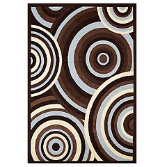 United Weavers Cafe Cappuccino Circular Geometric Area Rug