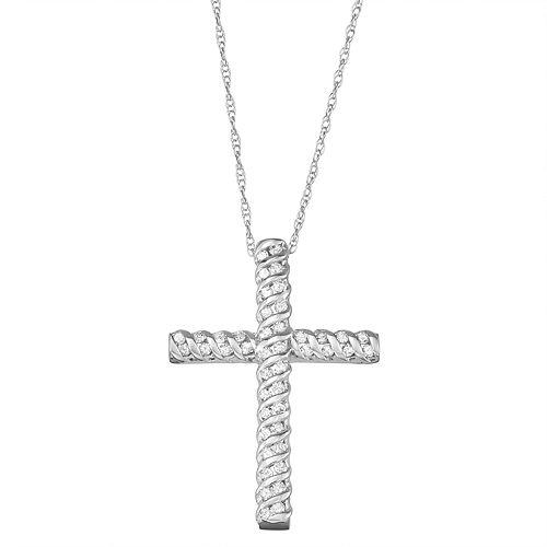 10k Gold 1/4 Carat T.W. Diamond Cross Pendant