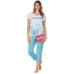 7a5bab48c Women's Cuddl Duds Sleep Tee & Capri 3-Piece Pajama Set